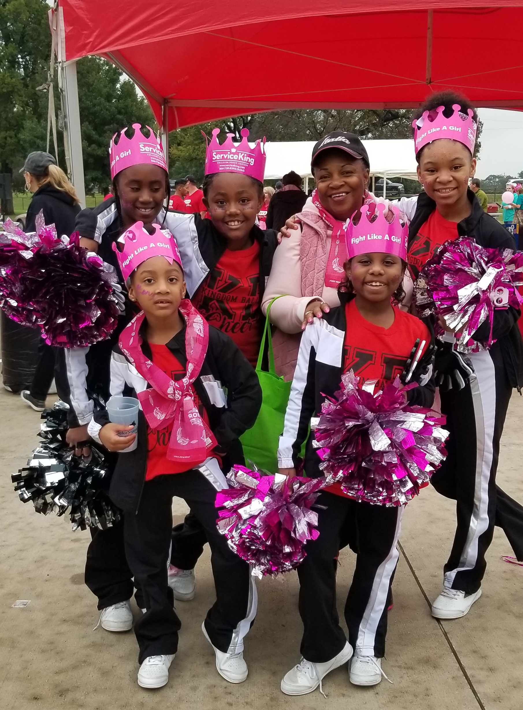 Sandra Henry with girls from Footprintz Dance at the 2018 Komen Race for the Cure in Waco