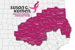 Map of Komen Greater CETX's 58-county area
