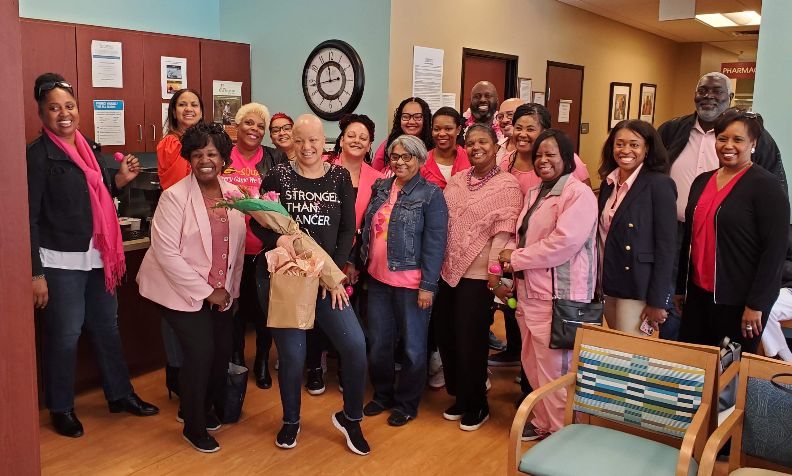 Kenya Johnson with friends and family on her last day of chemo at Texas Oncology