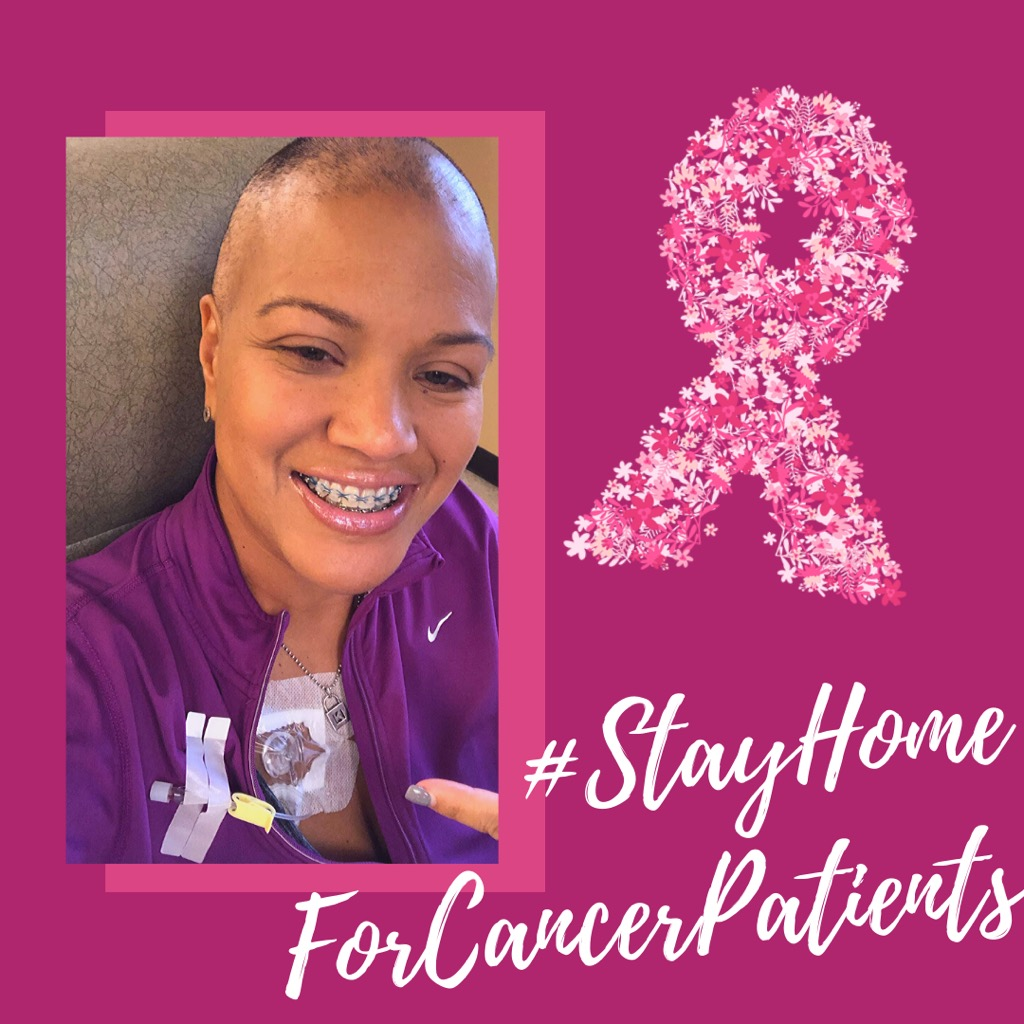 Kenya Johnson graphic with hashtag #stayhomeforcancerpatients
